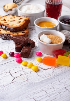 Produtos não saudáveis ricos em açúcar