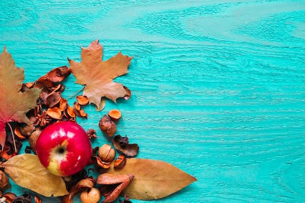 Produtos orgânicos de outono em fundo azul