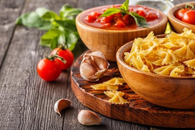 Produtos para cozinhar comida italiana