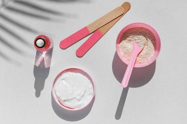 Produtos rose cosméticos para tratamentos de spa