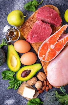 Produtos saudáveis de baixo carboidrato. dieta cetogênica.