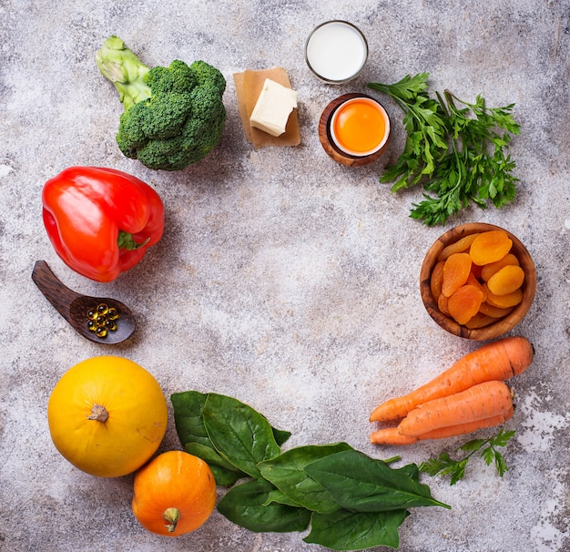 Produtos saudáveis ricos em vitamina a
