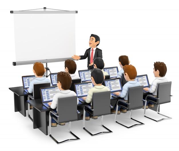 Professor 3d palestrando para alunos com laptops