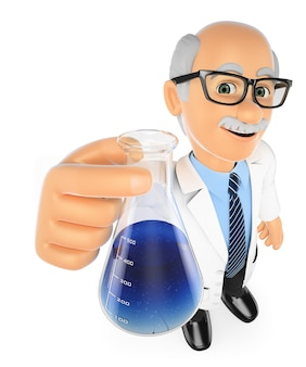 Professor de química 3d com um balão