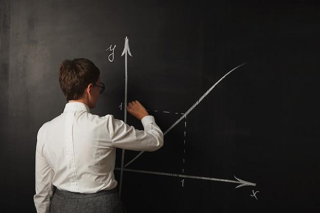 Professora com roupa conservadora dando aula de matemática no quadro-negro
