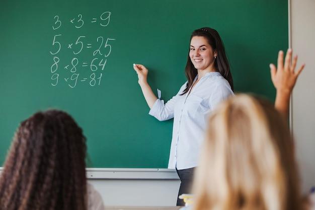 Professora de sexo feminino em pé contra o quadro-negro