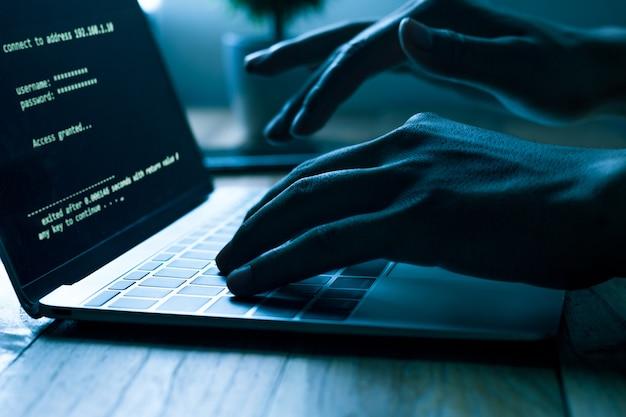 Programadores de computador digitam o código no laptop