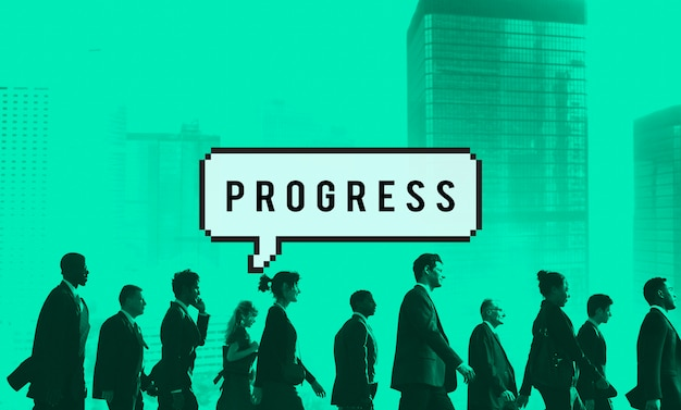 Progressive progress progression developement concept