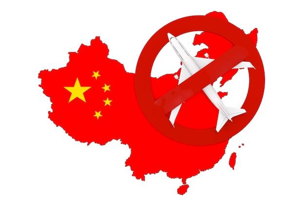 Proibição de voos de e para a china devido ao coronavírus covid-19. mapa da china com bandeira e avião com sinal vermelho de proibição sobre um fundo branco. renderização 3d