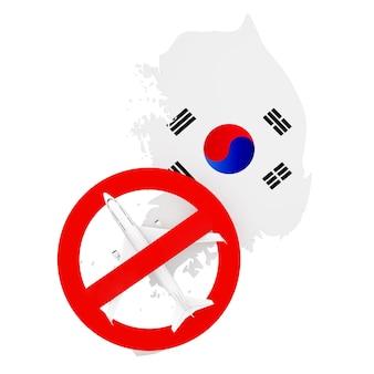 Proibição de voos de e para a coreia do sul devido ao coronavirus covid-19. mapa da coreia do sul com bandeira e avião com sinal vermelho de proibição sobre um fundo branco. renderização 3d