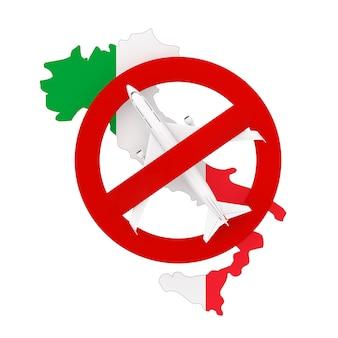 Proibição de voos de ida e volta para a itália devido ao coronavírus covid-19. mapa da itália com bandeira e avião com sinal vermelho de proibição sobre um fundo branco. renderização 3d