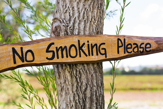 Proibido fumar placa de estilo vintage na placa de madeira