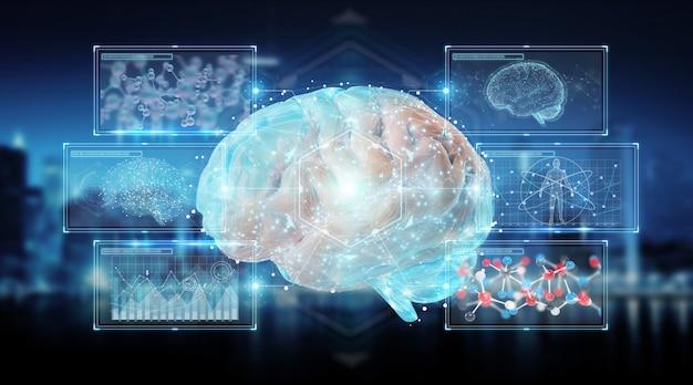 Projeção digital 3d de um cérebro humano
