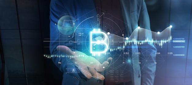 Projeção virtual de infográficos bitcoin na renderização 3d da palma da mão de um homem