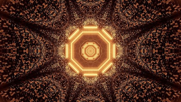 Projeção virtual de luzes douradas formando um padrão octogonal