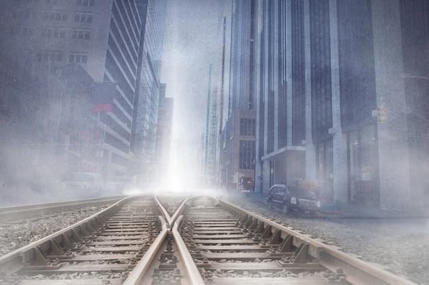 Projecção da arquitectura da cidade sobre vias férreas