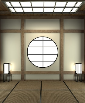 Projetado especificamente em estilo japonês, sala vazia.