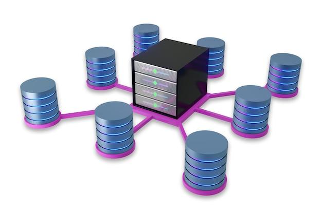 Projete o recipiente do rack do servidor de hospedagem centralizado com a luz do cilindro do ícone do banco de dados brilhando na cor rosa azul. imagem da ilustração 3d.