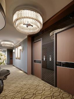 Projete portas de madeira no corredor do hotel. renderização 3d.