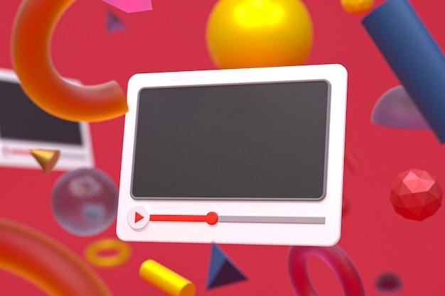 Projeto 3d do player de vídeo do youtube ou interface do player de mídia de vídeo em fundo de geometria abstrata