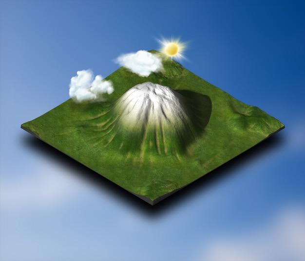 Projeto 3d isométrico da paisagem com nuvens e sol