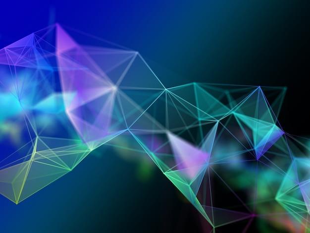 Projeto 3d moderno do plexo. comunicações de rede. techno moderno