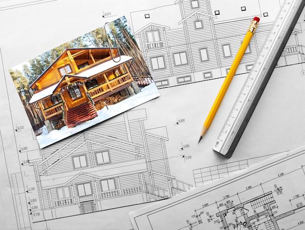 Projeto arquitetônico de casarão de madeira