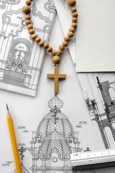 Projeto arquitetônico de igreja cristã