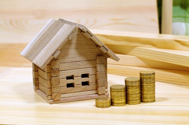 Projeto casa aconchegante. dinheiro para o edifício e detalhes do novo edifício