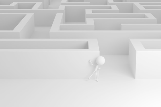 Projeto da arte 3d do labirinto. renderização 3d.