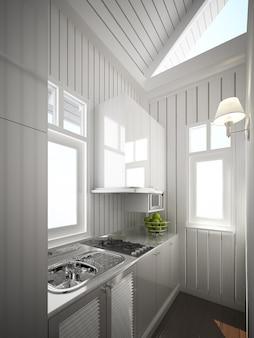 Projeto da cozinha interior. renderização 3d