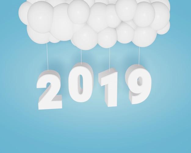 Projeto da rendição 3d, ano novo feliz 2019, projeto do texto e balões em um fundo azul.