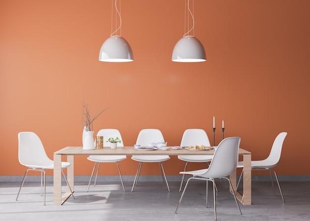Projeto da sala de jantar com interior laranja, decoração moderna