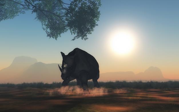 Projeto da silhueta do rinoceronte