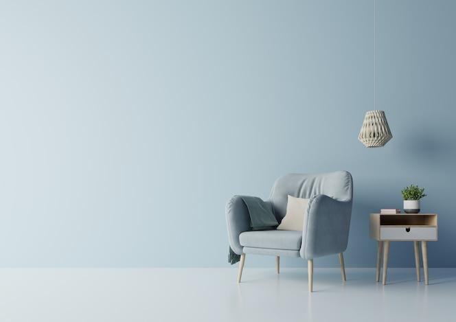 Projeto da tevê na sala moderna interior do armário com plantas, prateleira, lâmpada na obscuridade - parede azul.