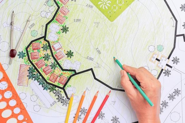 Projeto de arquitetura paisagística plano de jardim para desenvolvimento habitacional