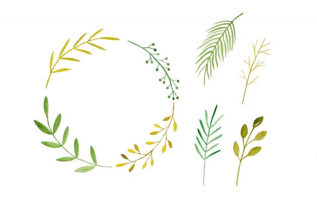 Projeto de arte ilustração aquarela, conjunto de folhas de árvore verde primavera e coroa de flores em aquarela