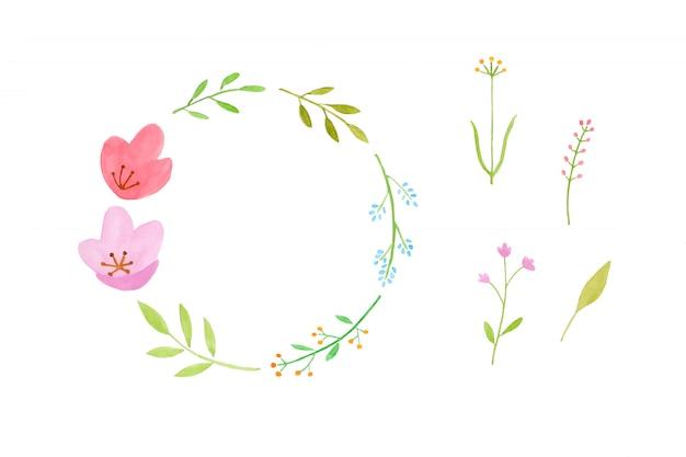 Projeto de arte ilustração em aquarela, conjunto de grinalda de flores coloridas em aquarela