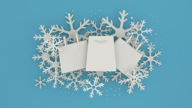 Projeto de banner de venda de inverno com flocos de neve brancos. estilo de arte de papel renderização em 3d.