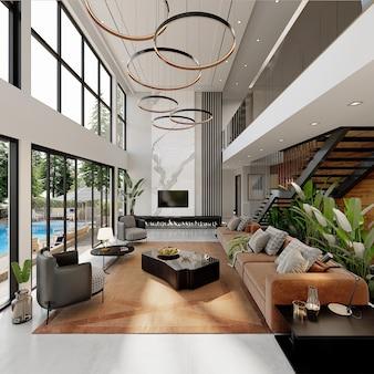 Projeto de casa moderna com móveis, renderização 3d