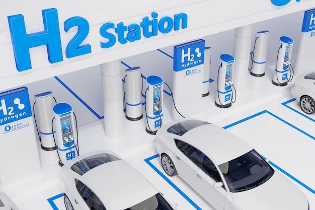 Projeto de conceito visual de estação de carregamento de carro de combustível de hidrogênio
