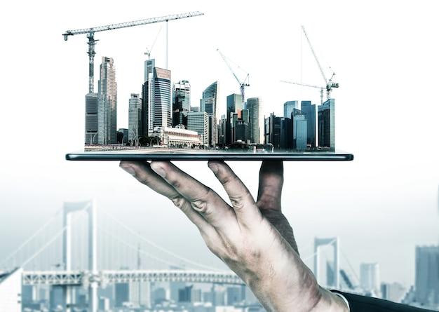 Projeto de construção civil inovadora de arquitetura e engenharia civil.