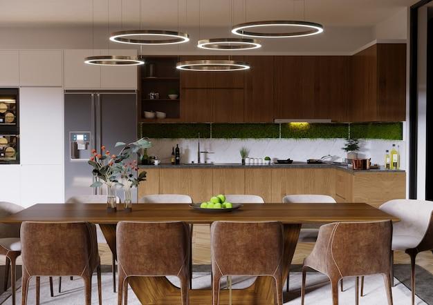 Projeto de cozinha com mesa de madeira, armário de cozinha, prateleira e cadeiras 3d render