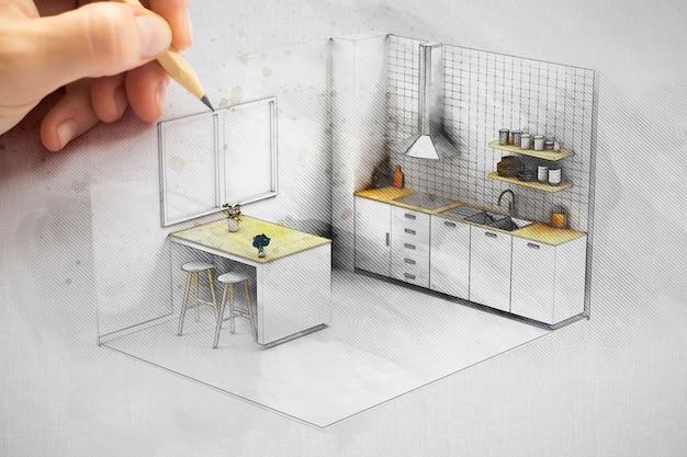 Projeto de cozinha de desenho de designer de interiores