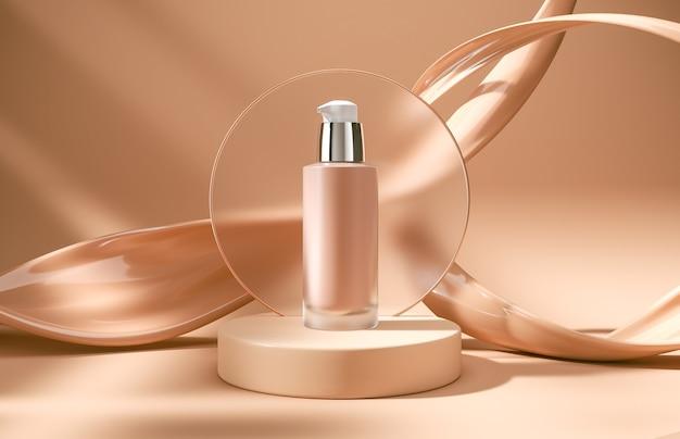 Projeto de embalagem de frasco cosmético de maquete de recipiente de base no fundo do pódio de cena 3d