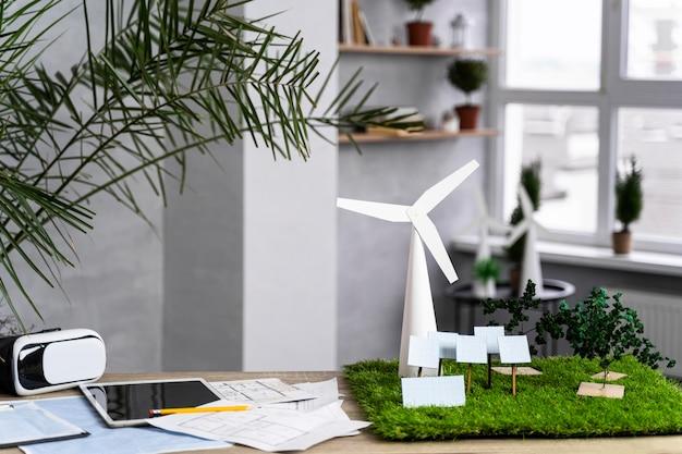 Projeto de energia eólica ecológica com turbinas eólicas