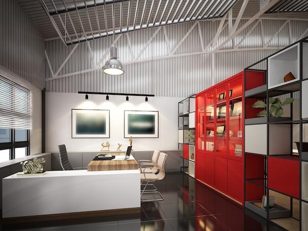 Projeto de esboço de sala de trabalho interior, renderização em 3d