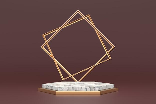 Projeto de estande de produtos com conceitos de luxo. renderização 3d.