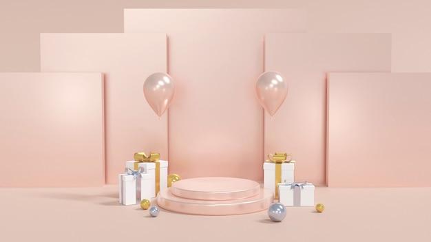 Projeto de feliz aniversário com caixa de presente, balão e pódio de forma geométrica. renderização 3d