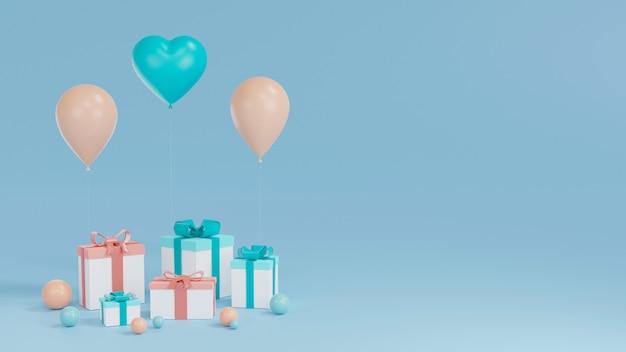 Projeto de feliz aniversário com caixa de presente, balão em blackground azul. renderização 3d
